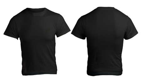 tee: Mens Blank Black Shirt, Front and Back Design Template