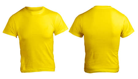 Mens Blank Yellow Shirt, Front and Back Design Template Stock Photo