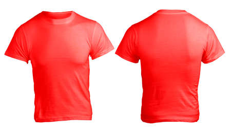 Men's Blank Red Shirt, Front and Back Design Template