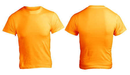 with orange and white body: Mens Blank Orange Shirt, Front and Back Design Template Stock Photo