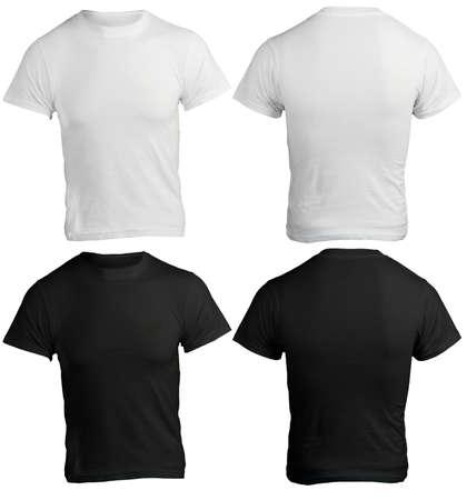 男性の空白の黒と白のシャツ、前面と背面のデザイン テンプレート