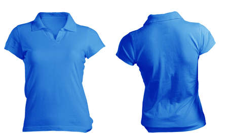 blue collar: Womens Blank Blue Polo Shirt, Front and Back Design Template Stock Photo