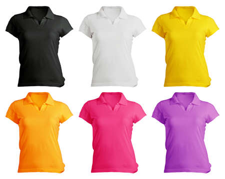 polo shirt: Womens Blank Polo Shirt, Front Design Template in Many Color Stock Photo
