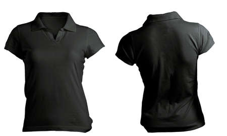 Womens Blank Black Polo Shirt, Front and Back Design Template