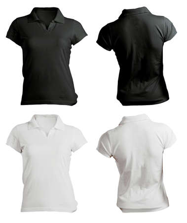 Womens Blank Black and White Polo Shirt, Front and Back Design Template Stock Photo