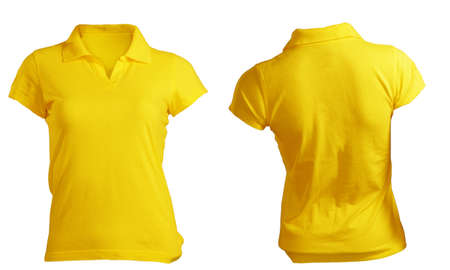 Womens Blank Yellow Polo Shirt, Front and Back Design Template photo