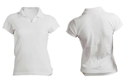 polo: Vrouwen lege witte poloshirt, voor en achter Ontwerpmalplaatje Stockfoto