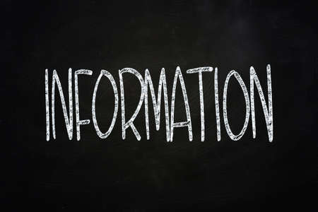 Information Lettering, written with Chalk on Blackboard Stock Photo - 24614907