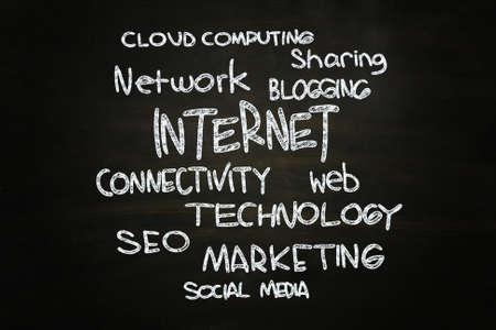Internet Concept Cloud Words, written with Chalk on Blackboard Stock Photo - 24614910