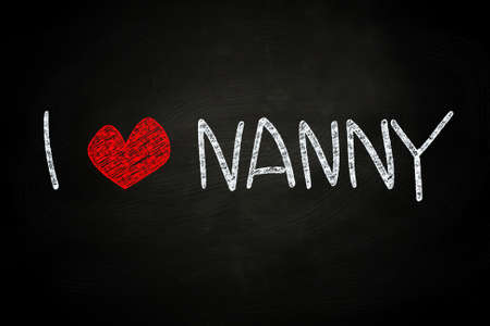 i love: I Love Nanny, written with Chalk on Blackboard Stock Photo