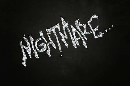 nightmare: Nightmare Creepy Lettering, written with Chalk on Blackboard
