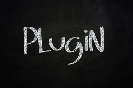 plugin: Plugin Lettering, written with Chalk on Blackboard Stock Photo