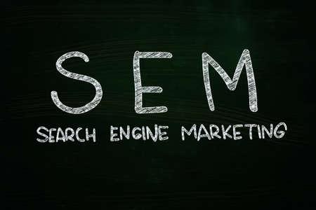 SEM Search Engine Marketing, written with Chalk on Blackboard Stock Photo - 24614952