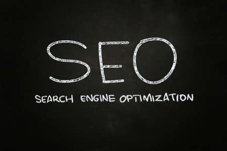 emarketing: SEO Search Engine Optimization, written with Chalk on Blackboard