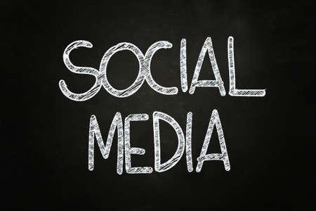 Social Media Lettering, written with Chalk on Blackboard Stock Photo - 24614954