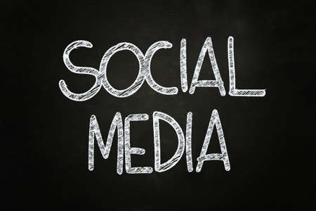 Social Media Lettering, written with Chalk on Blackboard Stock Photo - 24614954