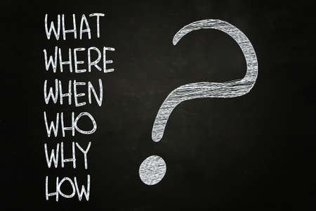 faq: What, Where, Who, Why, When, How? written with Chalk on Blackboard Stock Photo