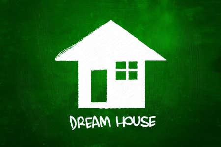 droomhuis: Dream House, getekend met krijt op Blackboard