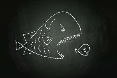 큰 물고기를 먹는 작은 물고기 칠판에 분필로 그린 스톡 콘텐츠