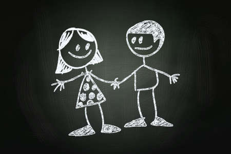 Friendship between a Boy and a Girl Concept, drawn with Chalk on Blackboard photo
