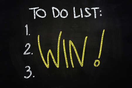To do List Win Concept, drawn with Chalk on Blackboard Stock Photo