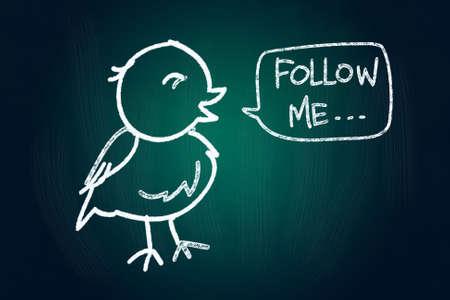 said: Follow Me said a Bird, Social Media Concept drawn with Chalk on Blackboard