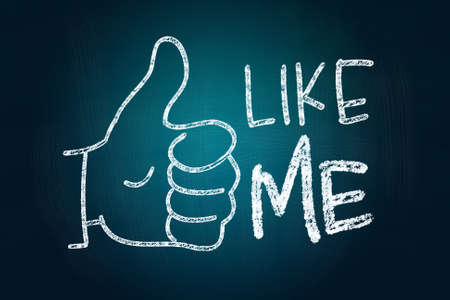 Like Me with Thumb Up, Social Media Concept drawn with Chalk on Blackboard