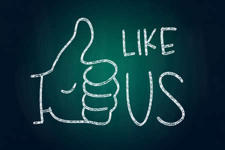 Like Us with Thumb Up, Social Media Concept drawn with Chalk on Blackboard