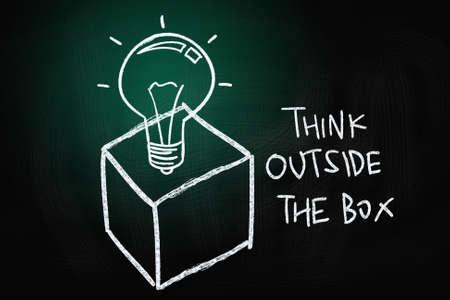 칠판에 분필로 그려진 상자 개념, 밖에서 생각