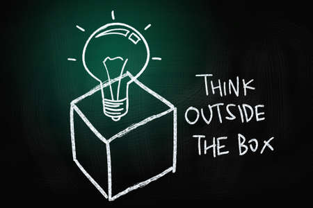outside the box: Think Outside the Box Concept, drawn with Chalk on Blackboard