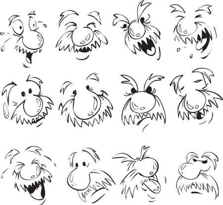 Vector conjunto de hombres de edad expresión facial en estilo cómico