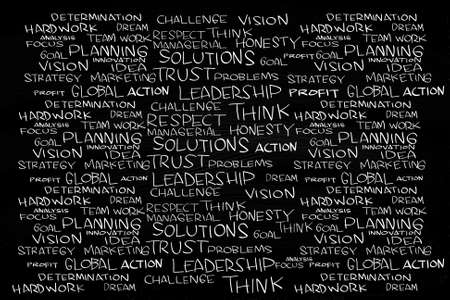 Business Management Cloud Words, written with Chalk on Blackboard