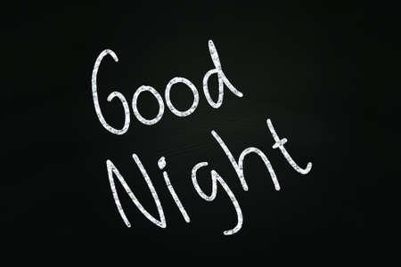 good night: La buena escritura Noche, escrito con tiza en la pizarra Foto de archivo