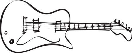 Vector illustration of electric guitar in black and white doodle sketch