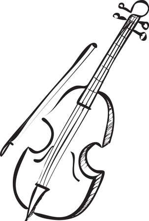violoncello: Vector illustration of cello in black and white doodle sketch