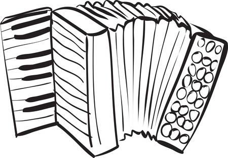 acordeón: Ilustración vectorial de acordeón en Doodle del bosquejo blanco y negro