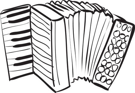 harmonica: Vector illustration of accordion in black and white doodle sketch