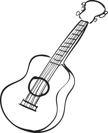 acoustic guitar: Vector illustration of guitar in black and white doodle sketch