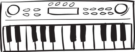 Vector illustration of musical keyboard in black and white doodle sketch Illustration