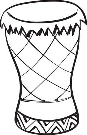 djembe: Vector illustration of congo drum musical instrument in black and white doodle sketch