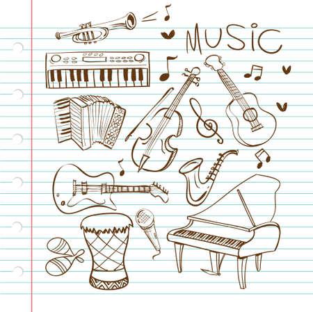 bongo drum: Vector illustration of musical instruments in black and white doodle sketch Illustration