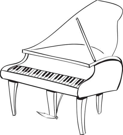 Ilustración del vector del instrumento musical del piano en el croquis garabato blanco y negro Ilustración de vector