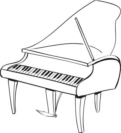 Vector illustration of piano musical instrument in black and white doodle sketch