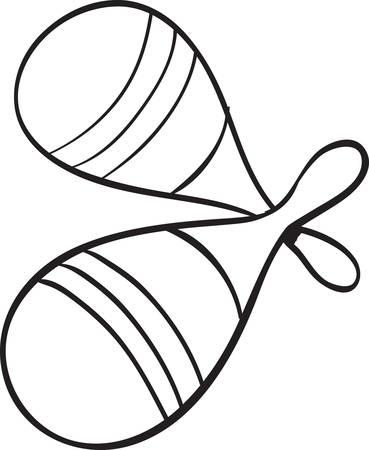 rattles: Vector illustration of rattles musical instrument in black and white doodle sketch Illustration