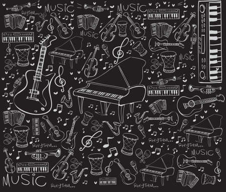 Vector illustration of music instruments in doodle style, white on black