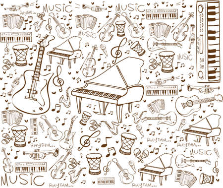 paper note: Vector illustration of music instruments in doodle style, brown on white