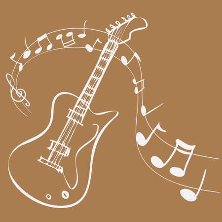 scores: Vector illustration of Guitar Melody, simple white on brown