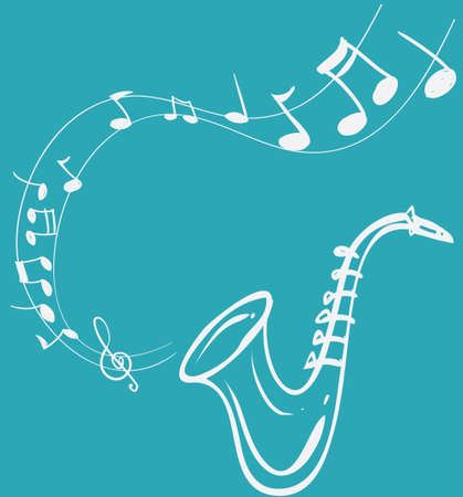 scores: Vector illustration of Saxophone Melody, simple white on blue