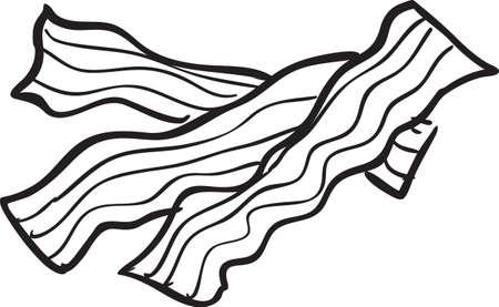 白と黒の落書きベーコンのベクトル イラスト  イラスト・ベクター素材