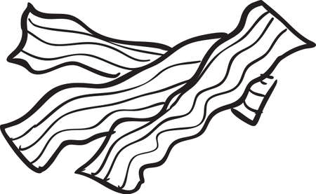 Vector illustration of fried bacon doodle in black and white